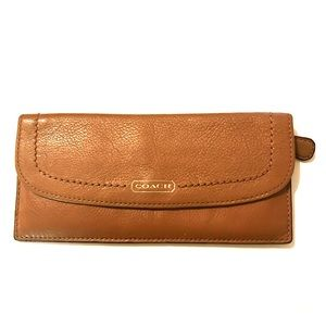 Coach Brown Leather Compact Wallet